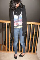 black New York and Company cardigan - pink foreve r21 shirt - black scarf
