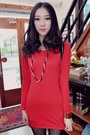 Red-slim-knit-gorgeous-chain-embellished-dress-black-chic-stylish-dress