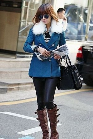 teal stylish fashionable chic coat - brick red vogue style cool elegant coat