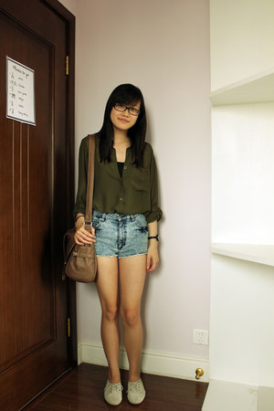 sheer hm blouse - thrifted shorts - lace up oxfords Zara flats