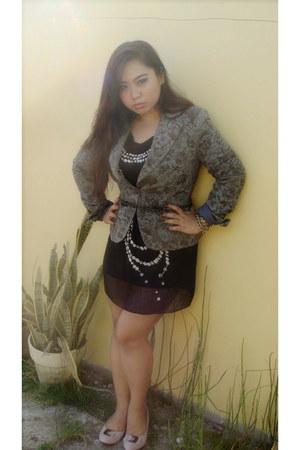 bubble gum wedge shoes - black beaded dress - heather gray Zara blazer