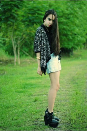 black Forever 21 cape - black boots - light blue shorts - navy bralet bra