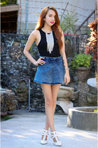 blue denim Vaintage shorts - white lola shoetique heels