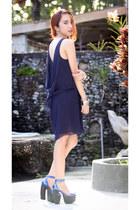 navy open back Love dress - blue Jeffrey Campbell heels