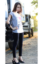 black leggings - heather gray i heart bf shirt - black peeptoe wedges