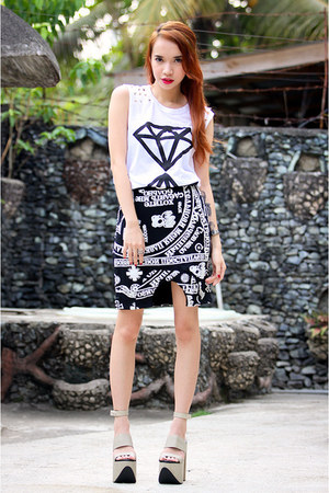 white FEMMEX shirt - black FEMMEX skirt