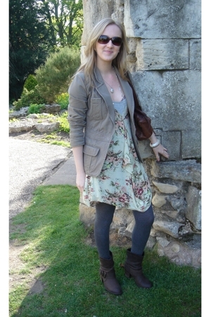 warehouse blazer - Topshop dress - next tights - Moda In Pelle boots - Topshop a
