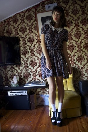 floral wild hearts vintage dress - suede Jeffrey Campbell heels