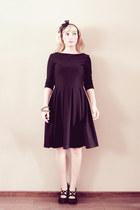 black Miss Selfridge shoes - black thrifted dress