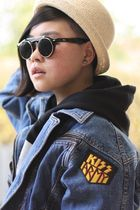 blue vintage jacket - beige Dangerfield hat - black Ebay sunglasses