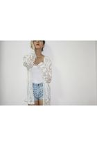 blue DIY shorts - white vintage cardigan - white top
