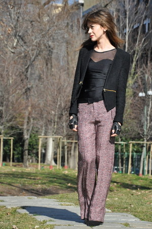 black Zara blazer - black American Apparel dress - crimson Zara pants