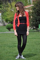 red Mango cardigan - black American Apparel dress - black Stella McCartney bag