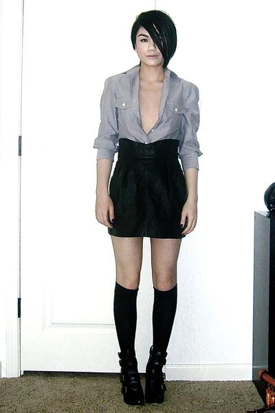 vintage skirt - Silence & Noise shirt - Betsey Johnson stockings - Dolce Vita sh