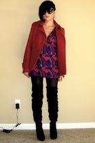H&M coat - French Connection dress - DKNY stockings - Bakers boots