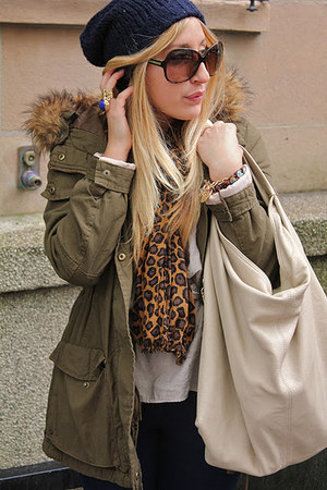 olive green H&M jacket - brown Zara scarf - eggshell Furla purse