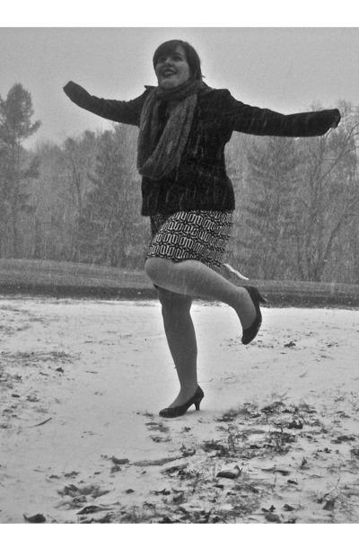 black Tiana B dress - brick red Gap coat - heather gray H&M scarf - black heels