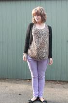 neutral leopard print BERMAN top - periwinkle asos jeans - black Target cardigan