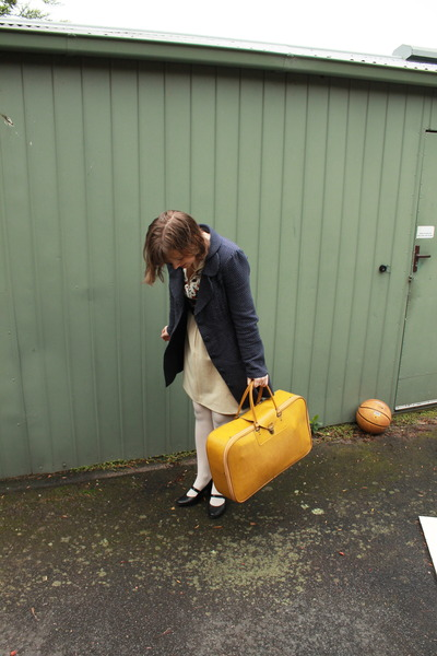 mustard vintage bag - eggshell vintage dress - navy Dangerfield coat
