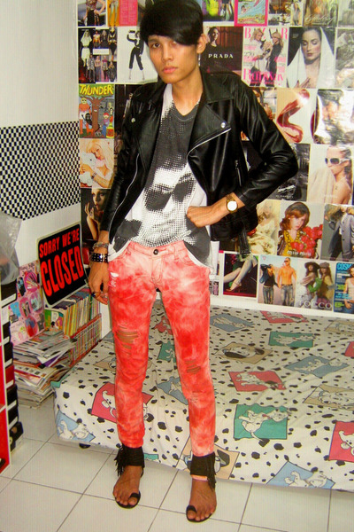 jacket - red hearing t-shirt - Zara jeans - custome made shoes