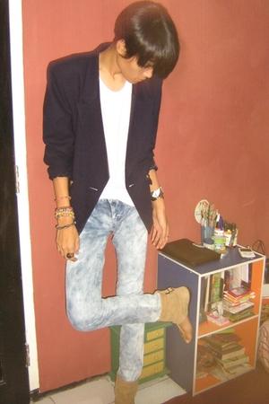 vintagemom closet blazer - Forever21 top - Mango jeans - Zara shoes - Zara acces