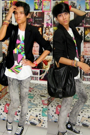 Zara blazer - Forever21 t-shirt - Mango jeans - Converse shoes - Topman accessor