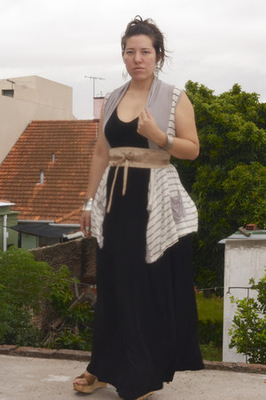 old black dress - cotton vest - gold belt