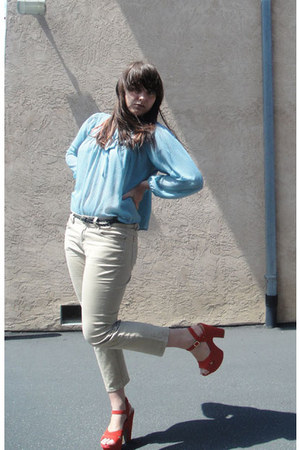 coral Kimchi Blue sneakers - dark brown H&M belt - beige BDG pants