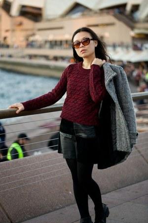 MinkPink skirt - Topshop boots - Zara coat - Sara Barner bag - Sportsgirl jumper