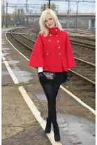 Stradivarius cape - Goshico bag - Zara heels - Stradivarius skirt