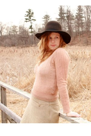 beige thrifted sweater - beige thrifted skirt - brown thrifted hat
