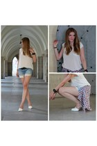 Mango top - f21 shirt - Zara shorts - Zara heels