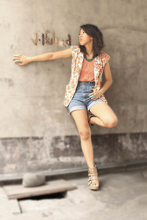wedge boots - shorts - ring Forever 21 accessories - floral DIY vest
