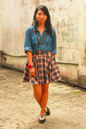 denim U2 blouse - lace up oxfords Shoeology shoes - nikita accessories