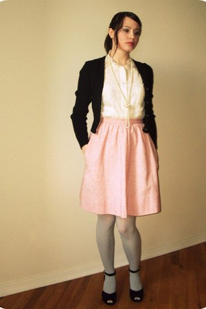 Target tights - tweed thrifted vintage skirt - lace thrifted blouse - thrifted c