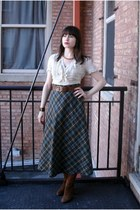 cream thrifted blouse - thrifted vintage skirt - thrifted vintage belt - thrifte