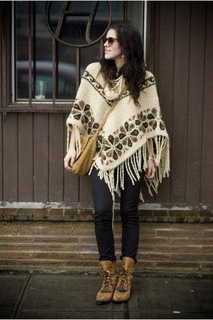 vintage poncho top - black Seven For All Mankind pants - brown Vintage boots sho