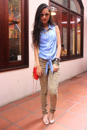 brown H&amp;M pants - red Rebecca Minkoff purse - sky blue warehouse top