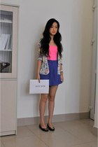 sky blue warehouse blazer - Louis Vuitton bag - violet boutique shorts