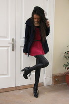 dark gray night market leggings - black Nine West boots - navy boutique coat