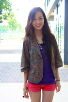 army green Local Boutique blazer - coral Local Boutique shorts