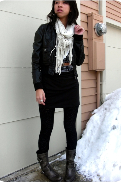 guess by marciano boots - H&amp;M jacket - Urban Outfitters scarf