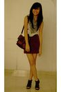 White-pull-bear-top-gray-pull-bear-scarf-brown-nyla-skirt-brown