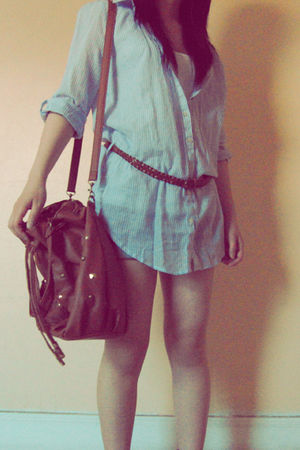 blue Primark blouse - blue new look shorts - white new look vest - brown Primark