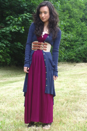 magenta maxi dress Forever21 dress - navy free people cardigan - dark brown 3 bu