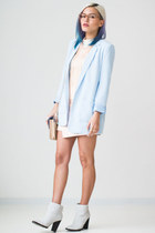 light blue Forever 21 blazer - white Nasty Gal boots