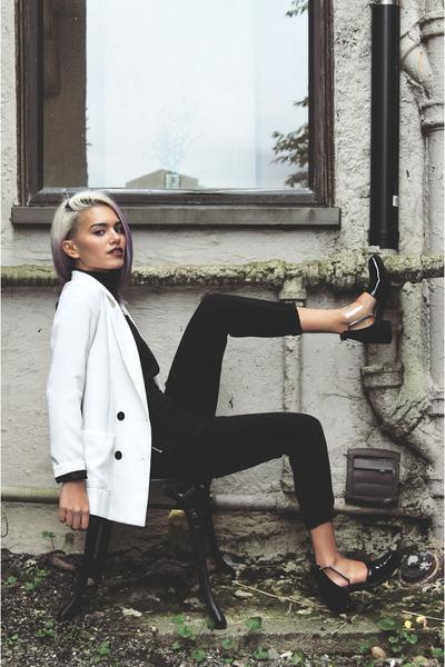 white Xander Vintage blazer - black Nasty Gal boots - black H&M jumper