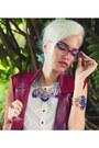 White-style-moi-dress-blue-la-moda-bracelet-maroon-frances-r-vest-fala-vest