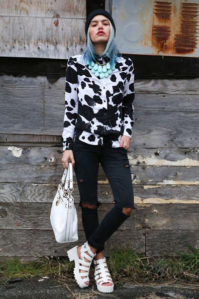 black cow print shirt OASAP blouse - white angie tote la moda bag