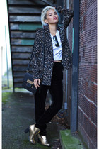gold Nasty Gal boots - dark gray leopard print Forever 21 blazer
